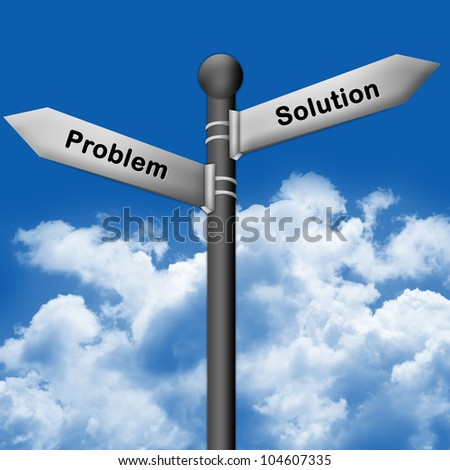 The Silver Problem and Solution Traffic Sign With Blue Sky Background - stock photo