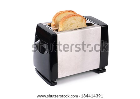 The silver toaster isolated on white background - stock photo