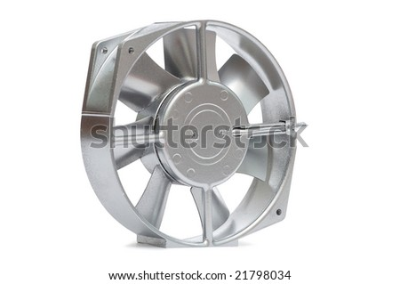The silvery metal fan on a white background