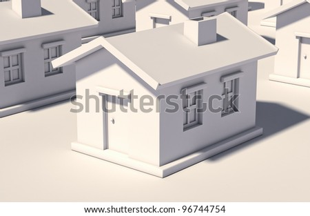 The simple house on a light background - stock photo