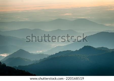 The simple layers of the Smokies at sunset - Smoky Mountain Nat. Park, USA. - stock photo