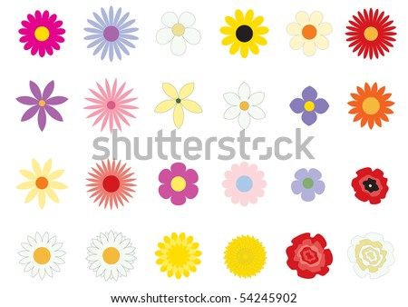 The simple vector flowers on the white background - stock photo