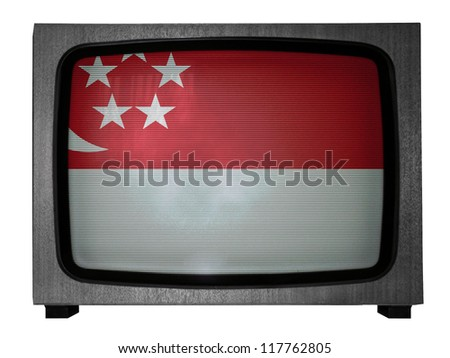 The Singapore flag painted on  old TV - stock photo
