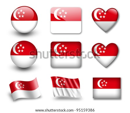 The Singapore flag - set of icons and flags. glossy and matte on a white background. - stock photo
