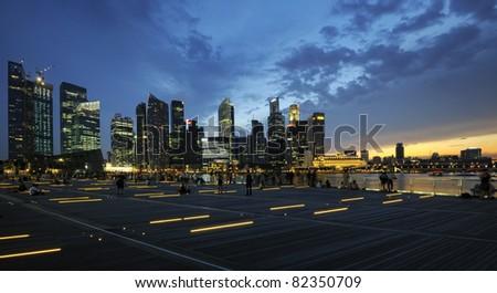 The Singapore skyline at night - stock photo
