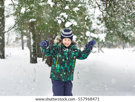 The six-year-old boy costs under a snow shower. Snowflakes have flown to pine branches to the head. Winter entertainment.
