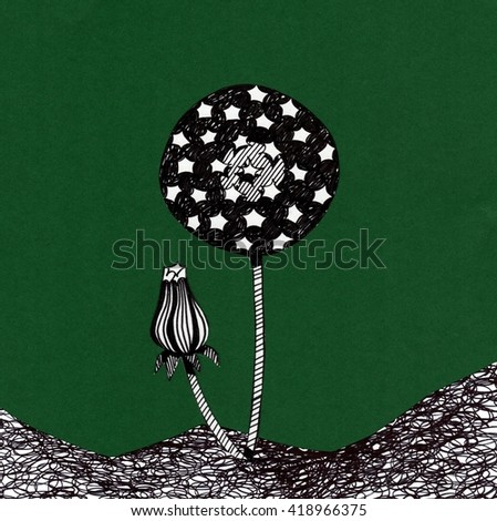 The sketched illustration of a black dandelion on the green background made with the applique work and collage - stock photo