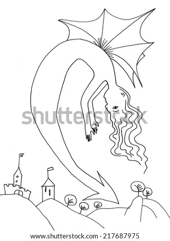 The sketched illustration of a dragon lady over a town hand drawn with the ink pen - stock photo