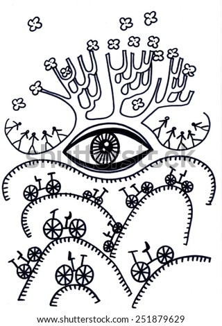 The sketched illustration of a surreal spring landscape with the bicycles made manually with the ink pen on the white background - stock photo