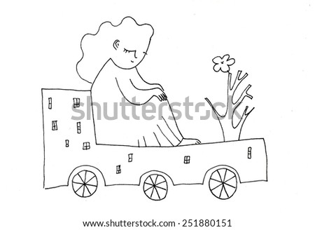 The sketched illustration of a woman traveling on a fantasy house with a flower made manually with the ink pen on the white background - stock photo
