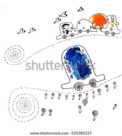 The sketched illustration of the different colorful funny cars with the fantasy roads hand drawn with the ink pen - stock photo