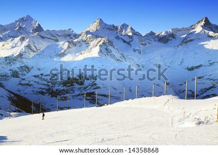 The ski trail at Gornergrat, Switzerland. - stock photo