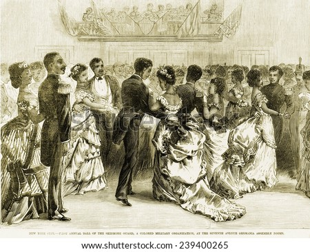 The Skidmore Guard, a colored military organization, held its first annual ball of the at the Seventh Avenue Germania assembly rooms, New York City, 1872.