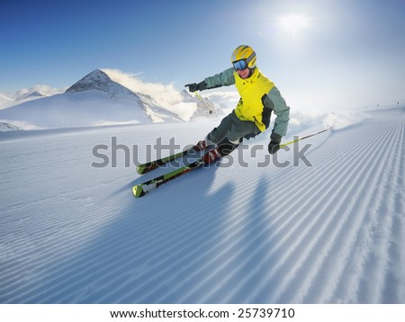 The Skier (first on the piste) - stock photo
