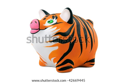 The skin of a tiger, is drawn on a Piggy Bank - stock photo