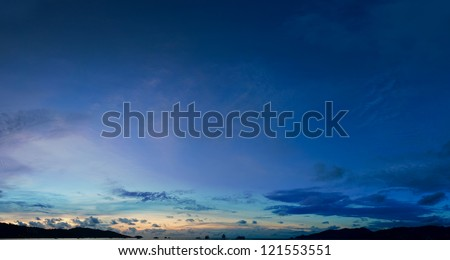 The sky above the harbor the tropical sea - panorama - stock photo