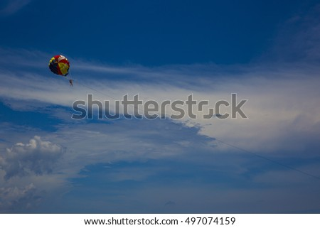 the sky and parachute