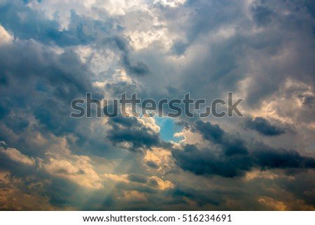 The sky and the clouds