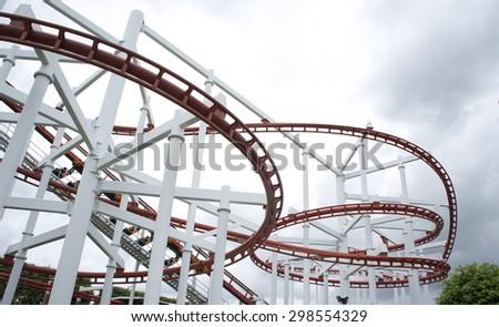 The Sky Coaster Tracks. - stock photo
