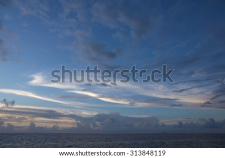 The sky over the ocean at sunset