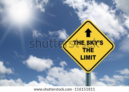 The sky's the limit cautionary road sign against beautiful sky - stock photo