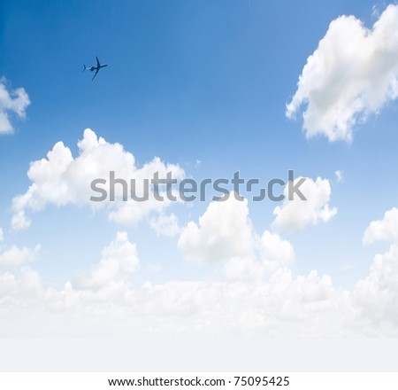 The sky, the sun and the plane - stock photo