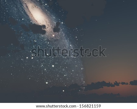 the sky with the Milky Way - stock photo