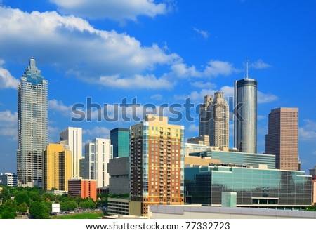 The skyline of Atlanta Georgia with downtown corporate building logos visible. - stock photo