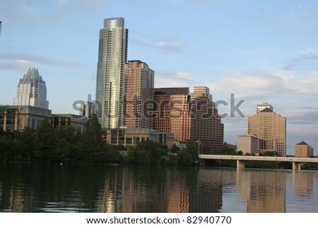 The skyline of Austin, Texas over Lady Bird Lake - stock photo