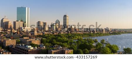 The skyline of Boston in Massachusetts, USA on a sunny summer day. - stock photo