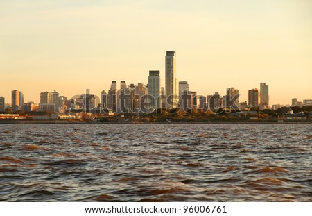 The skyline of Buenos Aires, Argentina. View from the Rio de la Plata. - stock photo