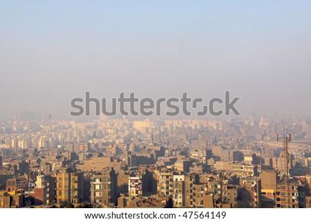 the skyline of Cairo Egypt - stock photo