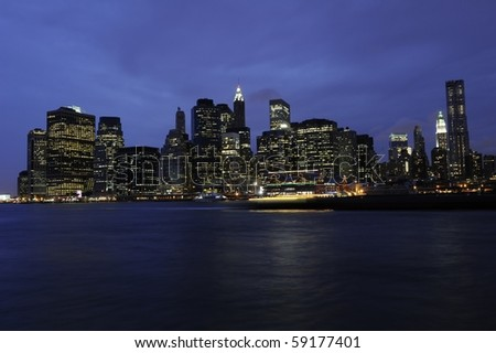 "The skyline of downtown Manhattan photographed in the ""blue hour"""