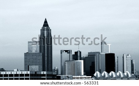 The skyline of Frankfurt, grain added