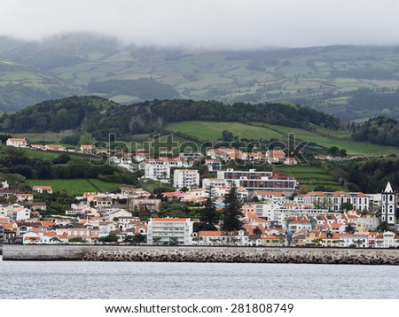 The Skyline of Horta of the Portuguese, Azores as the Clouds Roll In - stock photo