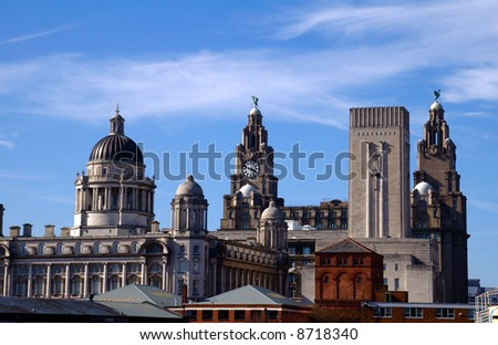 The Skyline of Liverpool in the area of the Pierhead showing the famous Liverbirds - stock photo