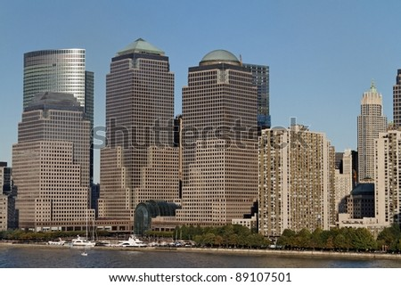 The Skyline of Manhattan seen from the Hudson River side - stock photo