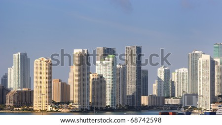 The skyline of Miami, Florida. - stock photo
