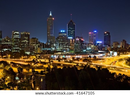 The skyline of Perth, the most remote city in the world. - stock photo
