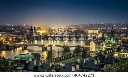 The skyline of Prague at night, Czech Republic - stock photo