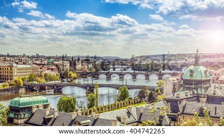 The skyline of Prague , Czech Republic - stock photo
