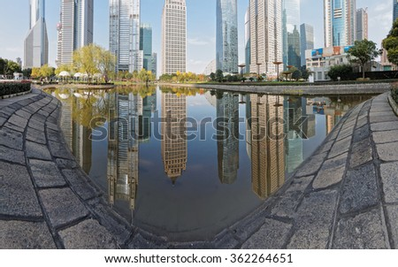 The skyline of Pudong Lujiazui in water.