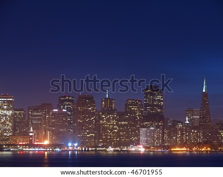 The Skyline of San Francisco at Night - stock photo