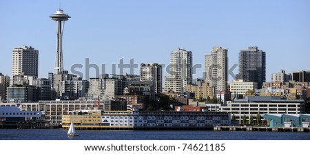 The skyline of Seattle, Washington, as seen from the Puget Sound.