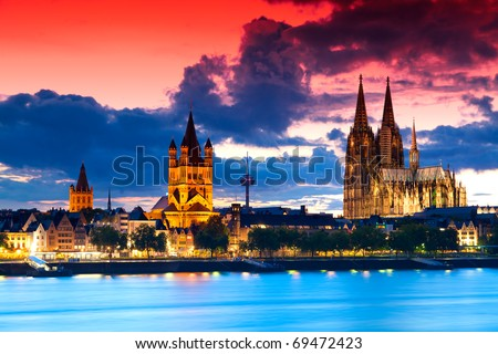 The skyline of the German city Cologne (Koeln) with the famous cathedral - stock photo