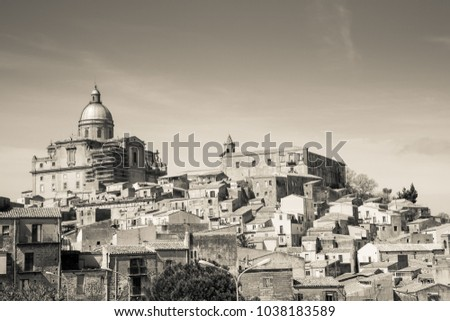 The skyline of the historic hilltop village Piazza Armerina in the Enna province of central Sicily in Italy
