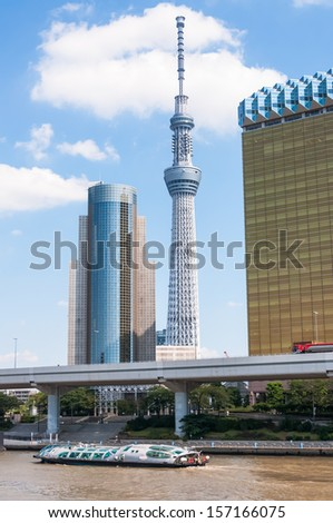 The skyline of Tokyo in the Asakusa district.
