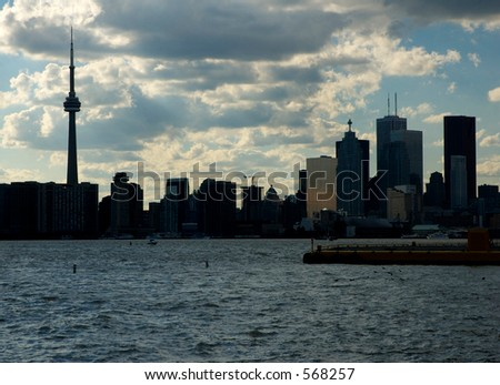 The skyline of Toronto, Ontario, Canada when viewed from the port