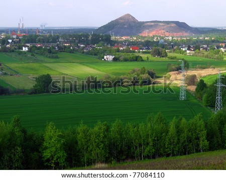 The slagheap of waste of coal mining industry in Rydultowy - stock photo