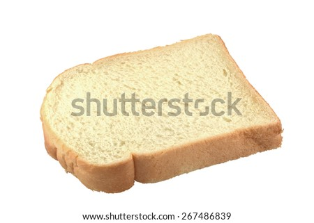 The slice of bread on white background